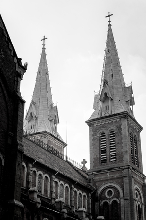 crown spire: The church. Black and white