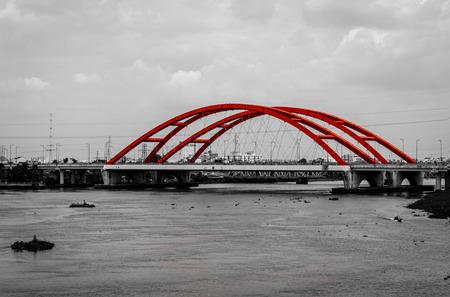 monochromatic: Landscape of the red bridge on a monochromatic background Stock Photo