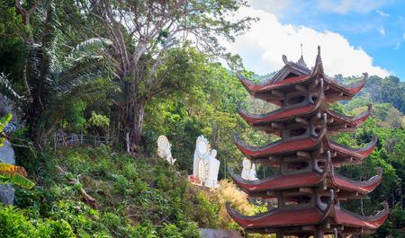 southeast asian ethnicity: Landscape of pagoda on top Ta Cu mountain