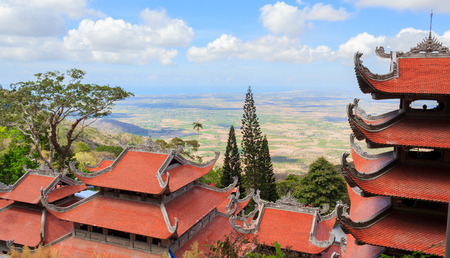 by cu: Landscape of the pagoda on top Ta Cu mountain