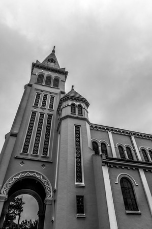 dalat: The Nicola Bari Church. Dalat, Vietnam. Black and white Stock Photo