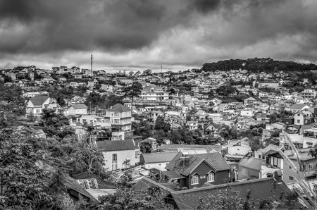 dalat: Cityscapes of Dalat city. Black and white