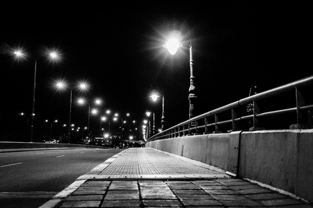 The city street. Black and white