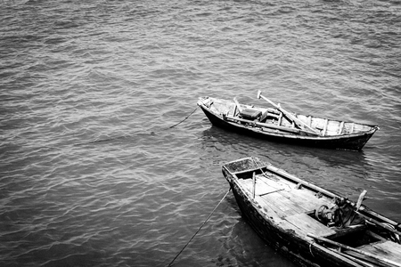 Two boat anchor on pier. Black and white Banco de Imagens