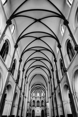 Inside of church. Black and white