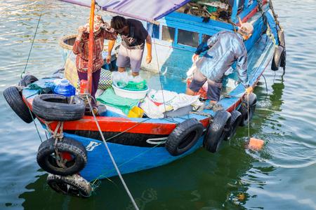 trawler net: Blue fish boat