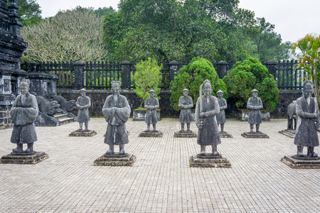Statue soldiers in Khai Dinh tomb at Hue Vietnam