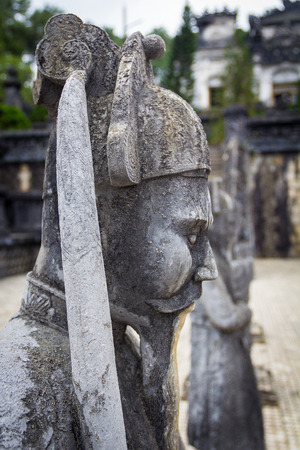 religious clothing: The statue soldiers in Khai Dinh tomb at Hue Vietnam Stock Photo