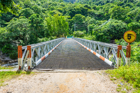 Steel bridge in the forest