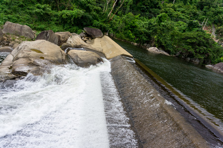 The water rushing out of the hydro dam Stock Photo