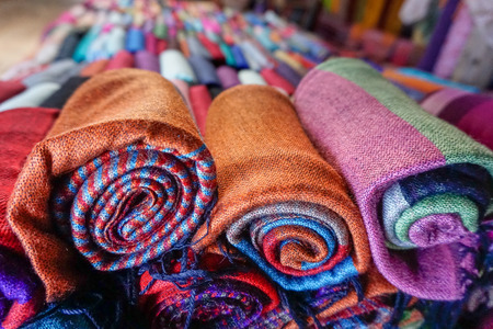 Colorful fabric in department store