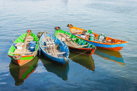 Group of wood boats anchoring Banco de Imagens