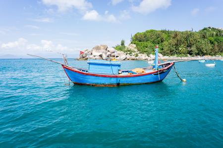 cu: The wood boat in Cu Lao Xanh island
