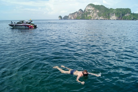 phi phi: Snorkeling at open sea, Phi Phi Island, Thailand Stock Photo