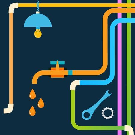 Stock plumbing concept design  イラスト・ベクター素材