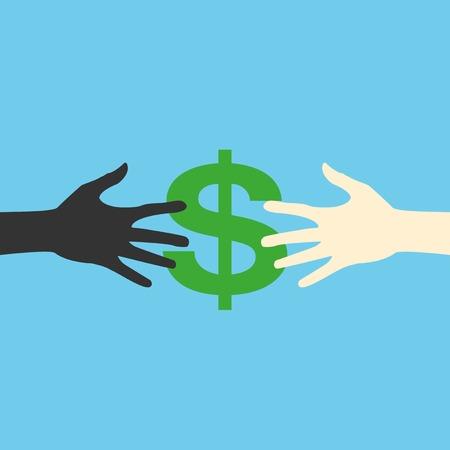 seize: Hands and money, vector print eps Illustration