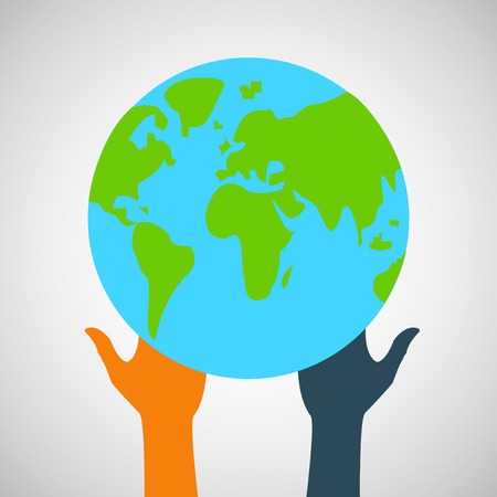 Stock Vector globe and hands  Vector