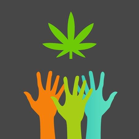 hoja marihuana: Manos que alcanzan para una hoja de marihuana Vectores