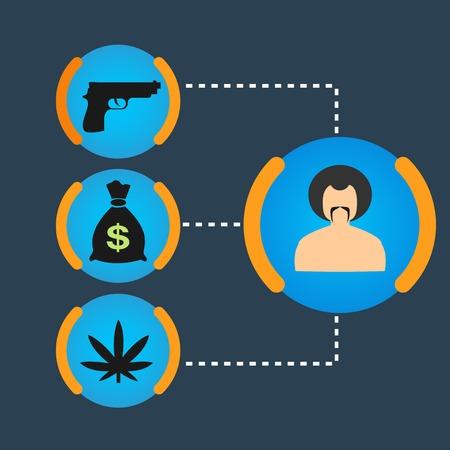Set Gangster money, weapons, drugs Vector