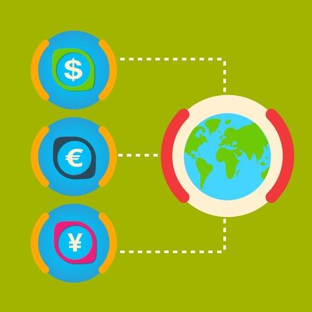installment: One unit of the world major cash Dollar, Yen, Euro. Illustration