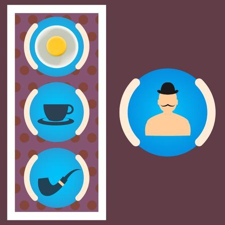 Morning set gentleman scrambled eggs, tea, tube Illustration