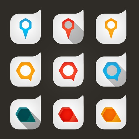Set of colored icons to indicate the empty space. Иллюстрация