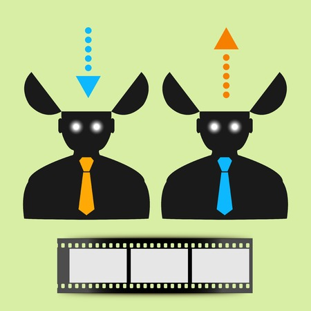 Abstract icon man watching movies. Vector