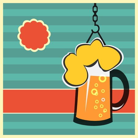 Beer concept with mug of beer. Vector