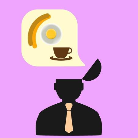 Gedachten persoon over eten. Design Concept.
