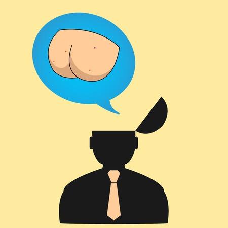 grosse fesse: Les pens�es de la personne sur des choses diff�rentes.