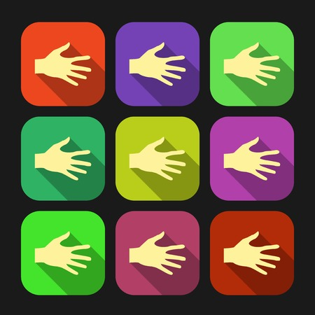 Set of vector flat icon hands Vector