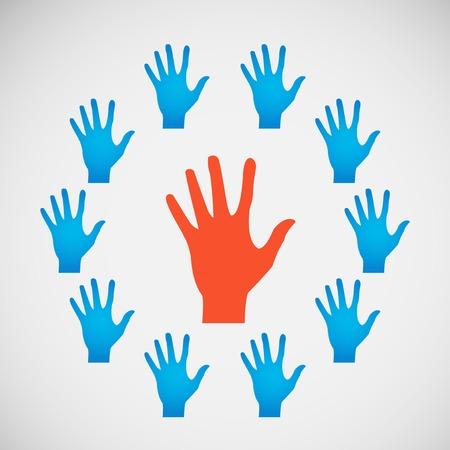 participacion: Vector planas icono manos. la abstracci�n del color