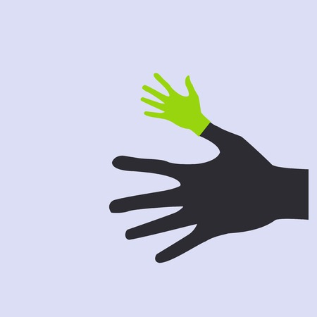 Vector flat icon hands. color abstraction  Vector