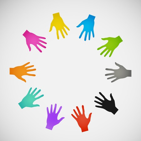 truce: Vector flat icon hands. color abstraction  Illustration
