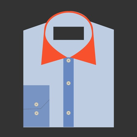 Color folded shirt with badge design concept Vector