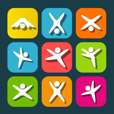 active lifestyle: Icons of modern people leading active lifestyle Illustration