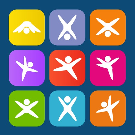 Icons of modern people leading active lifestyle Illustration