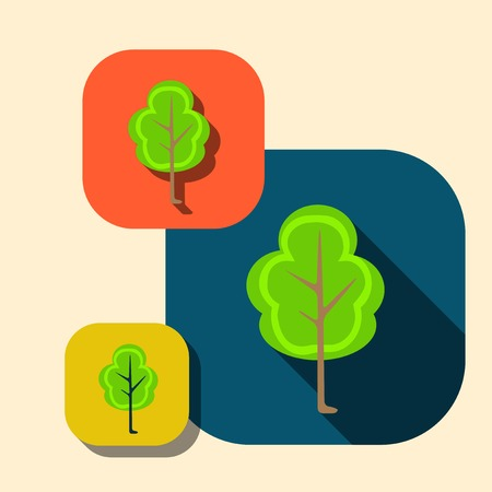 imagery: Vector beautiful icon flat blossoming tree eps