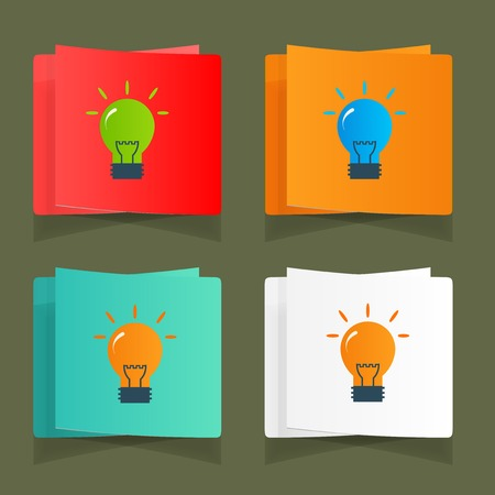 Set of simple icons flat color light bulbs Vector