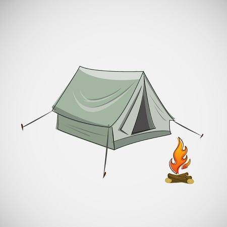 Stock tent and a bonfire on light background
