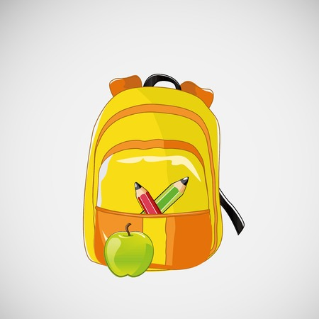 school backpack: Bright school backpack with pencils and an apple