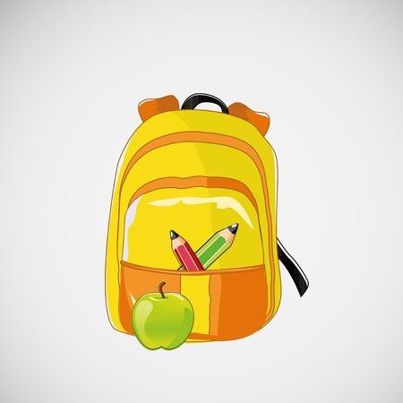 zaino scuola: Zaino della scuola luminoso con matite e una mela