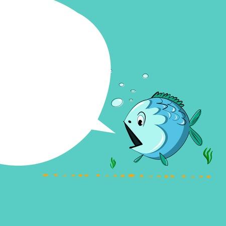 funny cartoon sea fish Vector