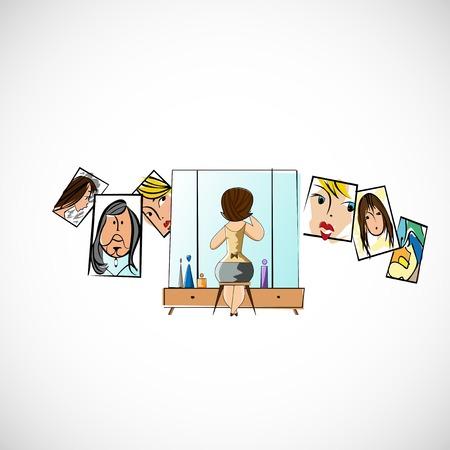 preens: Girl preens before a mirror Illustration