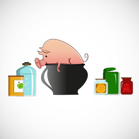 nickle: Pig in a pot on light background
