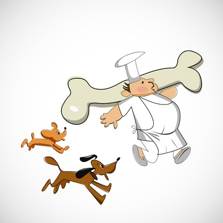 Chef carrying a bone for dogs