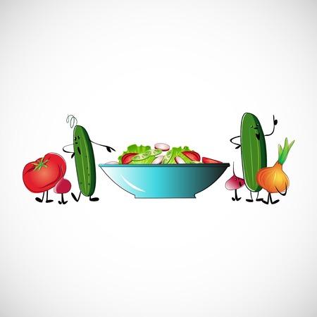 salads: Board of vegetables for salads