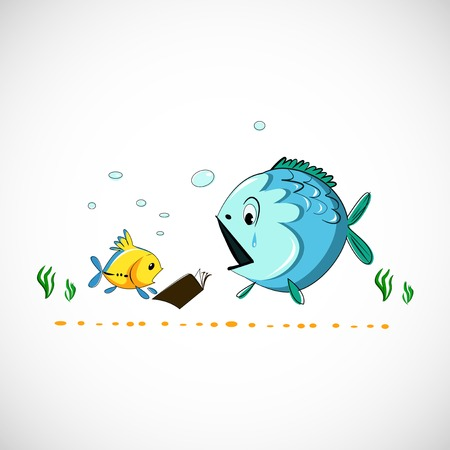 drawing funny cartoon sea fish Vector