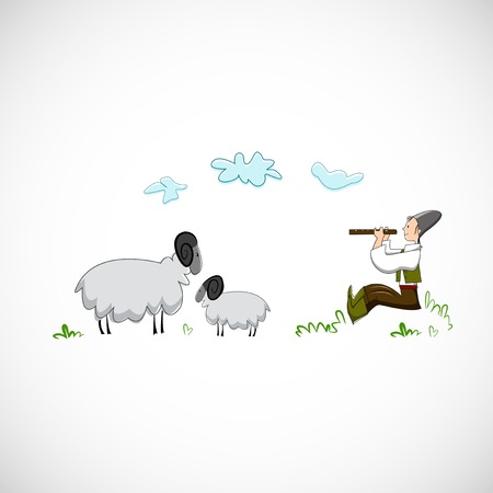 Shepherd plays the flute for sheep