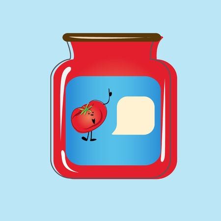 Bank with home canned tomatoes Illustration